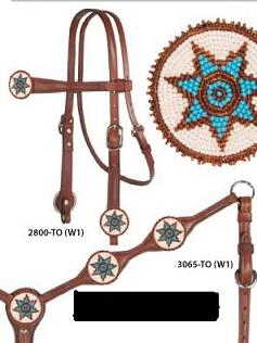 Brown Leather Headstall With White and Turquoise Medallions