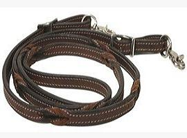 Leather Rein With Braided Grips