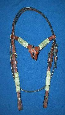 Dark Oil Headstall With Brow and Flat Rawhide Braiding
