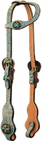 Turquoise Gator Slide Ear Headstall with Turquoise Cross Conchos