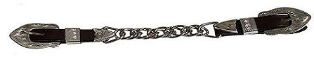 Leather Double Chain Silver Show Curb Chain