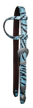 Showman™ Belt Style One Ear Headstall With Hair On Cowhide Zebra Print