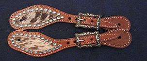 Youth Spur Straps With Hair and Turquoise Stones